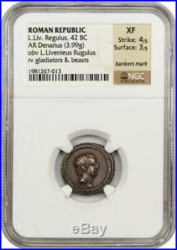 42 BC L. Liv. Régulus Ar Denier NGC XF (Ancien Romain)