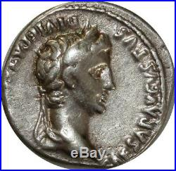 A4092 Very RARE Denier Denarius Octavian as Augustus CAESAR AVGVSTVS Lyon Silver