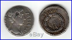 AUGUSTE CAESAR 19 Av J. C. TTB+ R2 Denier romain argent