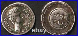 Auguste romain denier d'argent SPQR CL V, Césaraugusta 19-18 BC