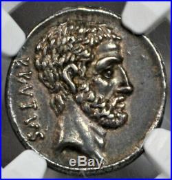 Brutus avec Ahala (54 BC) Ar Argent Denier D'Argent NGC Choix XF 4/5 4/5