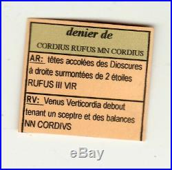 CORDIUS RUFUS DENIER ARGENT poids 3gr85