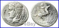 COSSUTIA (74 av JC) Lucius Cossutius Sabula. Rome, denier