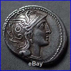 C. CLAUDIUS PULCHER, denier Rome en 110-109 avant JC, tête casquée de Rome, Bige