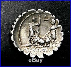 C. Sulpicius c. F. Galba. Superbe Denier D'Argent 106 Bc. Romain Republic Pièce