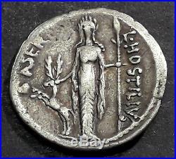 DENIER HOSTILIA (48 Avant J-C) Diane d'Ephèse debout de face