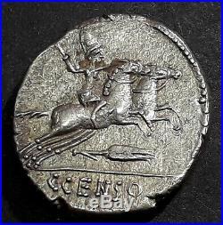 DENIER MARCIA (88 Avant J-C) Un desultor galopant sur une paire de chevaux