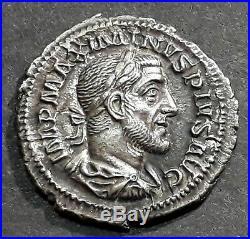 DENIER MAXIMIN Ier THRACE (235-238) La Paix debout de face regardant à gauche