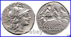 Denier / Afrania 154-141 AC / S. Afranius A / Tête de Rome R / Victoria/C