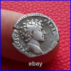 Denier Antonin Le Pieux / Marc Aurèle, monnaie romaine, roman coin
