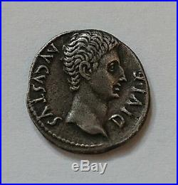 Denier Denarius Romain Empereur Auguste au taureau chargeant 15 av Jc