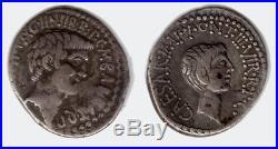 Denier Éphèse MARC ANTOINE et OCTAVE 41 Av J. C. SUP+ R3 argent