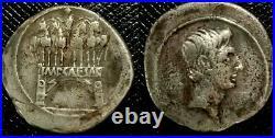 Denier Octave Arc de triomphe monnaie romaine Denier auguste. Rare