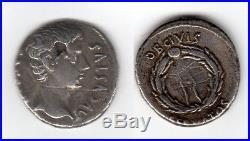 Denier romain AUGUSTE CAESAR 19 Av J. C. TTB+ R2 argent SUP fourré