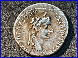 Empire Romain Tibere (14 37) Denier Argent Lyon Revers Pontif Maxim Ttb+