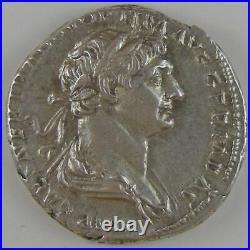 Empire romain, Trajan, Denier, R/ SALVS AVG // PARTHICO P M TR P COS VI P P SPQR