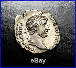 Hadrian. Superbe Denier D'Argent, circa Ad 134-138. Ancien Romain Pièce Argent