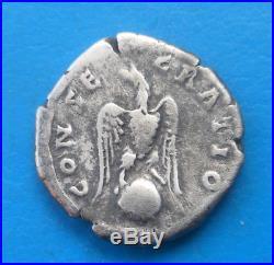 Hadrien Hadrianus denier CONSECRATIO eagle (by Antoninus) RARE