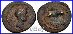Julius Caesar 42 Bc. Rare Fourrée Denier D'Argent Rigide Ancien Romain Monnaie