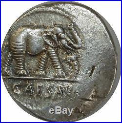 L7791 Julius Caesar 49-44 BC denarius denier Elephant Campaign Italy Silver -MO
