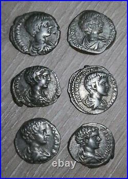 Lot De 6 Deniers Denarius Argent Silver Coin