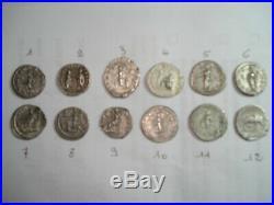 Lot de 12 deniers d'argent (romains) tous différents. En superbe état
