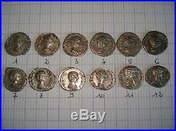 Lot de 12 deniers d'argent (romains) tous différents. Impératrice Julia Domna