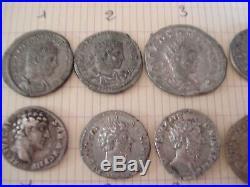 Lot de 12 monnaies d'argent (romains) différents 11deniers+1antoninien lourd