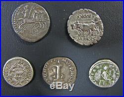 Lot de 5 deniers d'argent romains