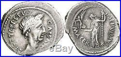 M749 VERY RARE Julius Caesar P. Sepullius Macer Denier Denarius 44 CAESAR Silver