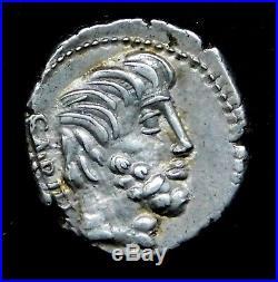 Manches. Titurius Lf Sabinus. Denier D'Argent circa 89 Bc. Romain Républicain