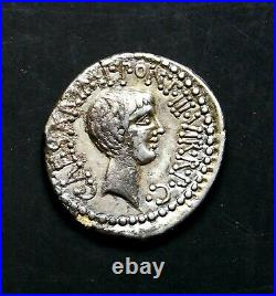 Marc Antony & Octavian Superbe Rare Denier D'Argent 41 BC Haut Général À Julius