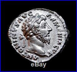Marcus Aurelius. Denier D'Argent Exceptionnel Portrait Père à Commodus. Pièce