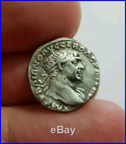 Monnaie Romaine Rare Denier Argent Trajan -rare
