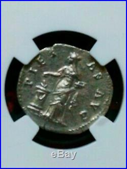 Monnaie romaine denier faustine PIETAS AVG 104 141 AP J. C
