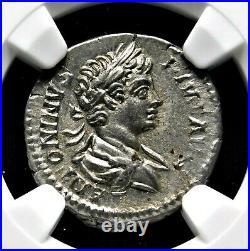 NGC Au. Caracalla Denier D'Argent Ad 201-206 de Frère Geta. Ancien Romain Pièce