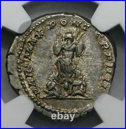 NGC Ch Au. Caracalla Denier D'Argent 202 Ad de Frère Geta. Ancien Romain Pièce