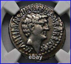 NGC VF 5/5-3/5 Marc Antony & Octavian Rare Denier D'Argent Général À Julius