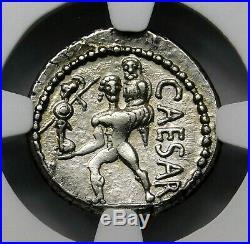 NGC au 3/5-3 / 5. Julius Caesar 48-46 BC Superbe Rare Denier D'Argent Romain
