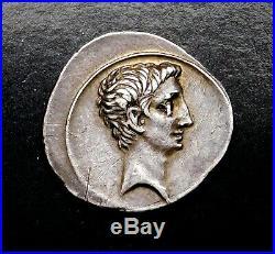 Octavian Caesar, Augustus Rare Denier D'Argent Adoptée Fils De Julius Caesar