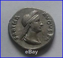 Original Ancien Romain Pièce Argent Sabina Wife Of Hadrian 136 Ad Denier