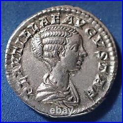 PLAUTILLA, PLAUTILLE, denier frappé à Rome en 202-203, Concordia Aeternae, 18mm