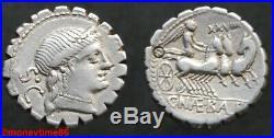 REPUBLIQUE ROMAINE, denier d'argent de NAEVIA, serratus, en superbe