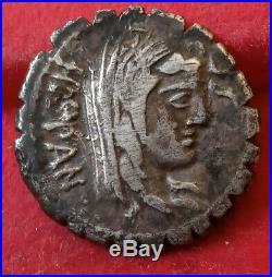 ROME Republic Serratus Postumia Denarius Denier ALBINUS HISPAN 81BC (5789)