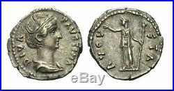 ROM Impératrice Faustine Mater, Épouse D' de Antonin Pie 141 Denier 147 #x1431