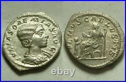 Rare Ancien Romain Pièce Argent Denier D'Argent Julia Soaemias Héliogabale Vénus