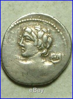 Rare Ancien Romain Pièce Argent Denier D'Argent, Licinia Macer Vejovius Minerva
