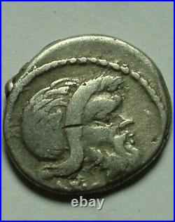 Rare Ancien Romain Pièce Argent Vibia Pansa Caetronianus Denier D'Argent Pan
