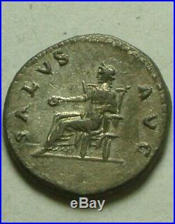 Rare Original Ancien Romain Pièce Argent Ar Denier Vespasien 73AD Salus Patera