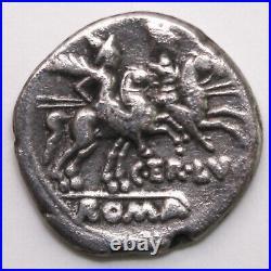 Rép. Romaine Denier Terentia 147 av. JC, Rome Dioscures au revers B#10